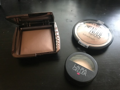 Pictured: Ambient lighting powder, Pure nude highlighter, and baked highlighter